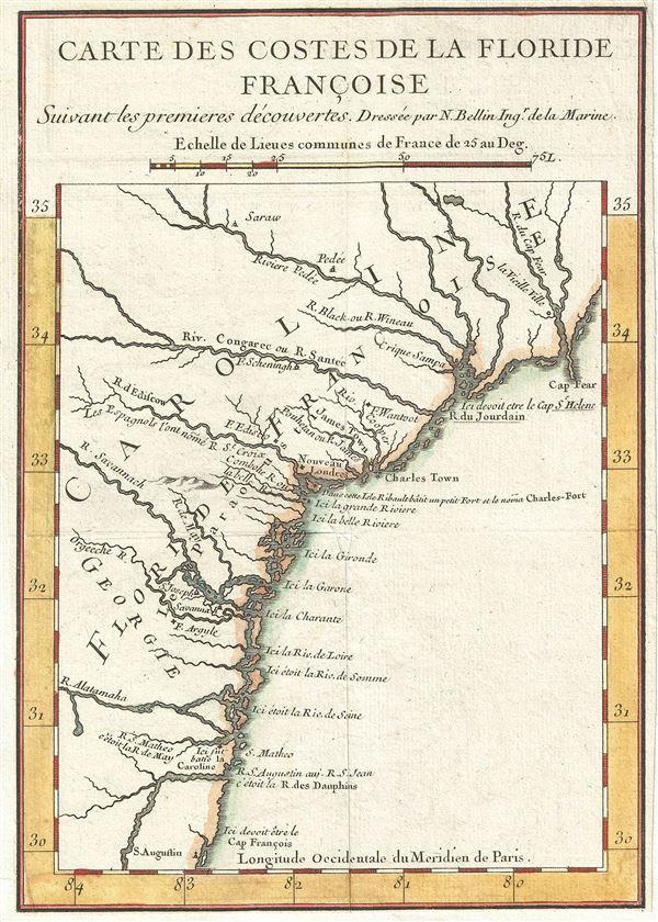 Carte des Costes de la Floride Francoise Suivant les premieres decouvertes.