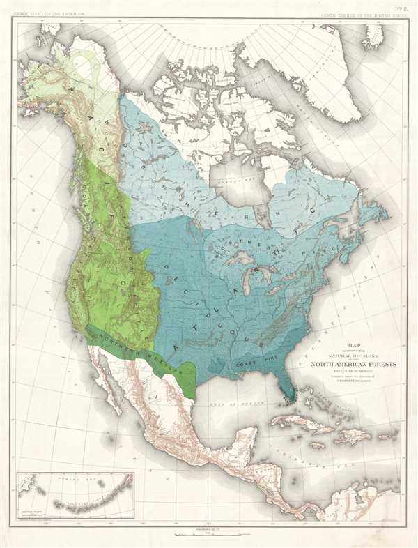 Map Showing the Natural Divisions of the North American Forests. Exclusive of Mexico.