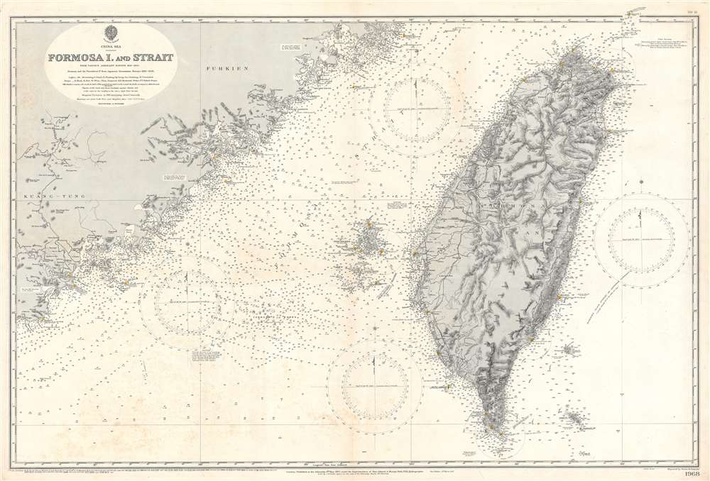 China Sea. Formosa I. and Strait. From Various Admiralty Surveys 1843 - 1904. Formosa and the Pescadores Is. from Japanese Government Surveys 1895 - 1909. - Main View