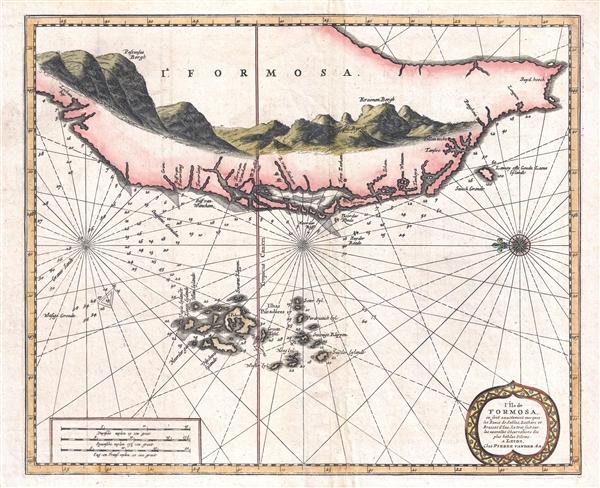 L'Île de Formosa, ou sont exactement marquez les bancs de sables, rochers et brasses d'eau, le tout fait sur les nouvelles observations des plus habiles pilotes.