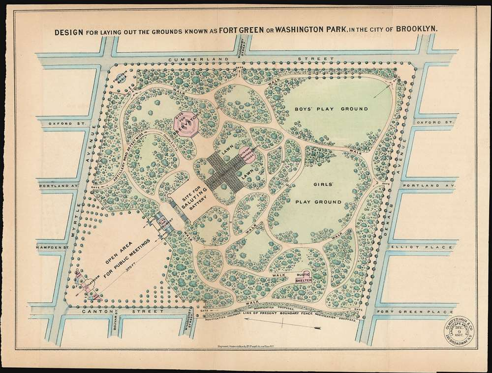 1867 Vaux and Olmstead Map of Fort Greene Park, Brooklyn, New York
