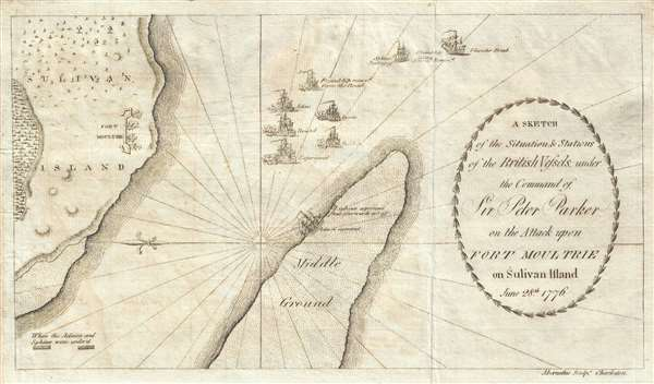 A Sketch of the Situation and Stations of the British Vessels under the Command of Sir Peter Parker on the Attack upon Fort Moultrie on Sulivan Island June 28th, 1776.