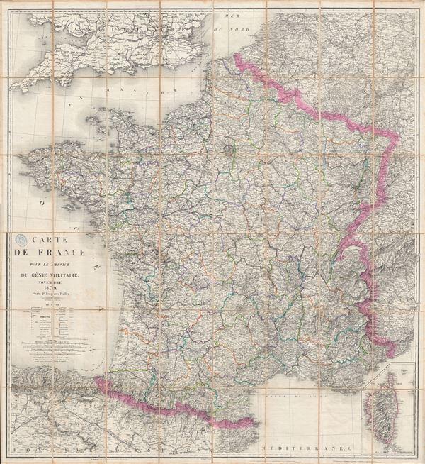 Carte de France Pour le Service Du Genie Militaire.