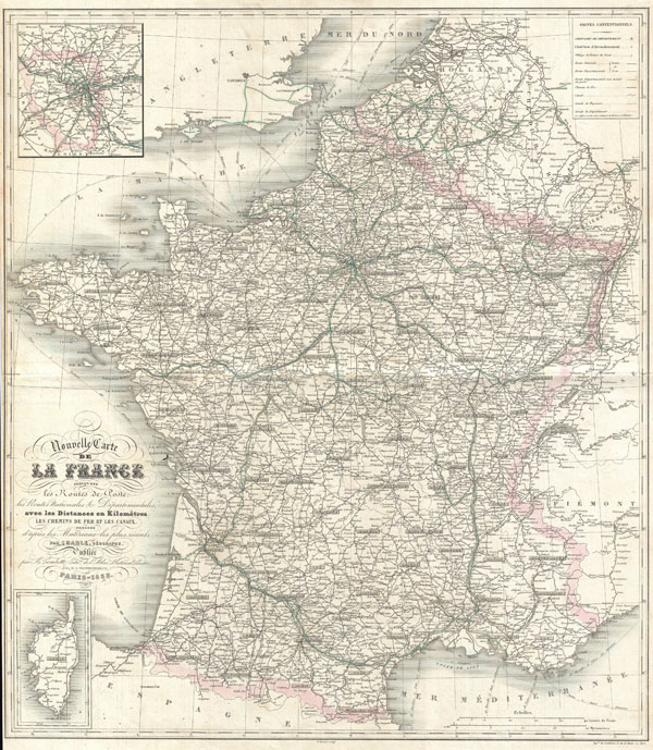 Nouvelle Carte del La France indiquant les Routes de Poste, les Routes Nationales & Departmentales aved les Distances en Kilometres. - Main View