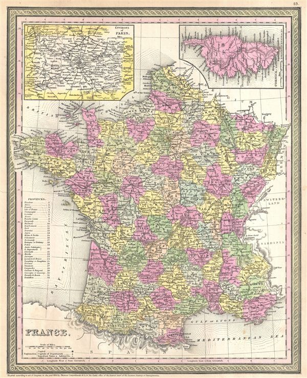 1854 Mitchell Map of France