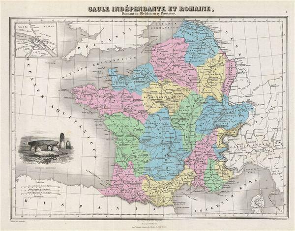 Gaule Independante et Romaine, Donnant sa Division en 17 Provinces.