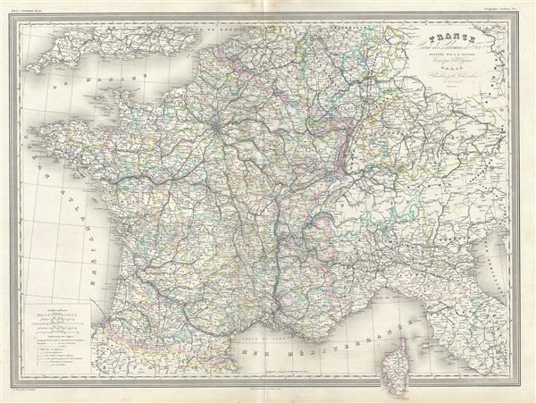 France Carte des Chemin de Fer.