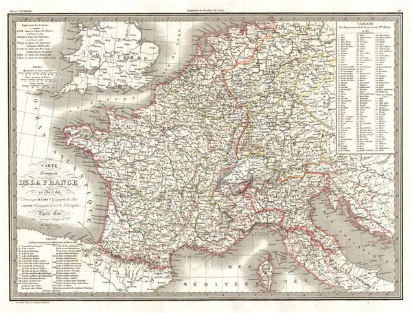 Carte Comparee de la France en 1789 et 1813.