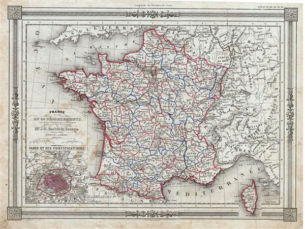 France divisee en 86 départements avec Sieges Archiepiscopaus et Episcopaux.