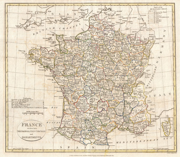 France divided into Metropolitan Circles and Departments. - Main View
