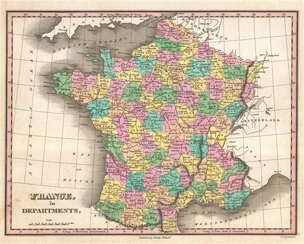 departments of france map. 1827 Finley Map of France in
