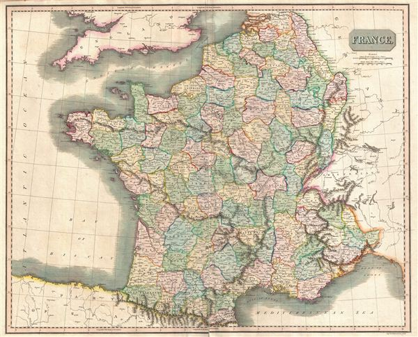 1814 Thomson Map of France in Departments