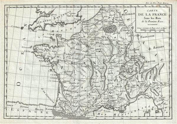 Carte de la France Sous les Rois de la Premiere Race.