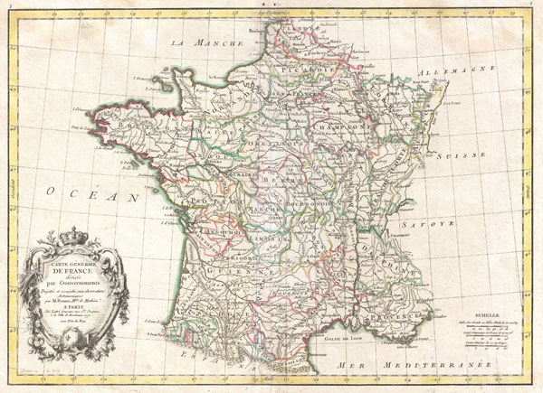 Carte Generale de France divisee par Gouvernements.