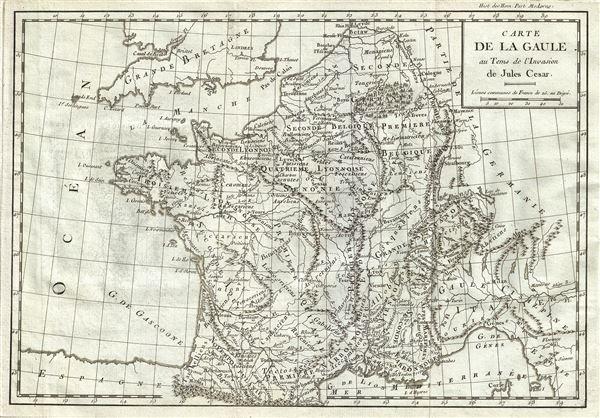 Carte de la Gaule au Tems de l'Invasion de Jules Cesar.