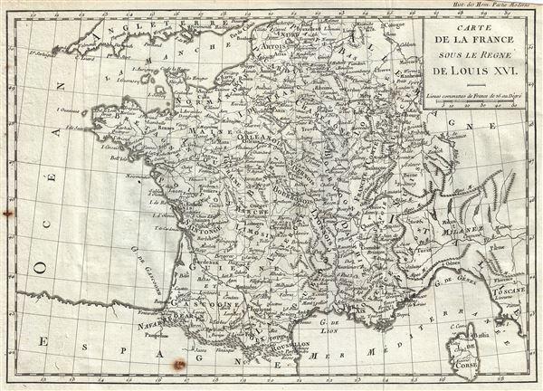 Carte de la France sous le Regne de Louis XVI.