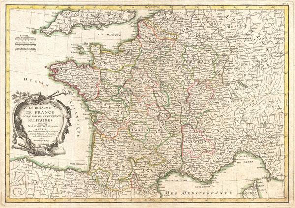 La Royaume de France Divise Par Gouvernements Militaires.