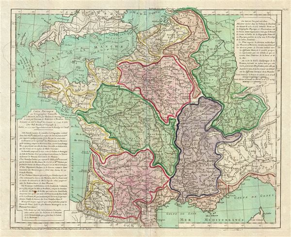 Carte Physique de ou Geographie Naturelle de la France, divisee par Chaines de Montagnes et aussi par Terreins de Fleuves et Rivieres.
