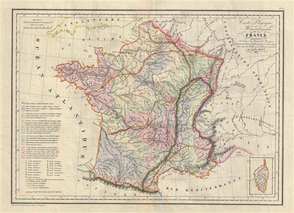 Carte Physique et Mineralogique de la France presentant les Versans, les Bassins, les Montagnes, les Grandes Limites des Vegetation, la Pente des Principaux Cours d'Eau, les Roches, et les Substances Minerales, que recele son Sol.