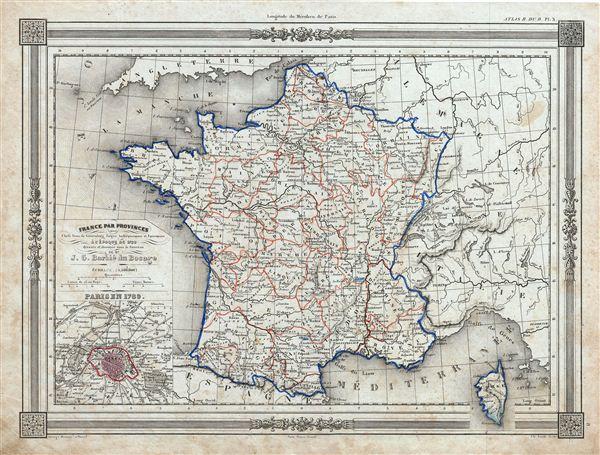 France par Provinces avec Chefs lieux de Generalites Sieges Archiepiscopaux et Episcopaux a l'Epoque de 1789.