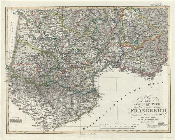 Der Sudliche Theil von Frankreich nebst einem Theile von Spanien.