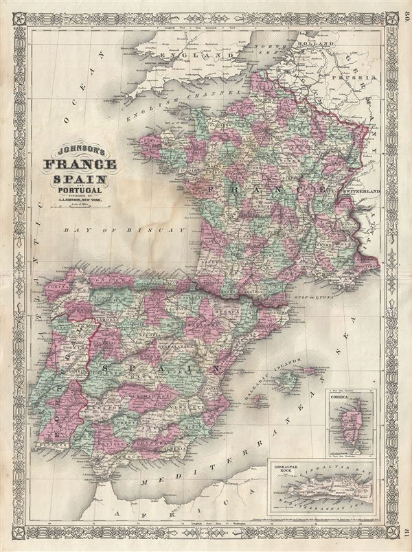 Map Of Spain Portugal And France.Johnson S France Spain And Portugal Geographicus Rare Antique Maps