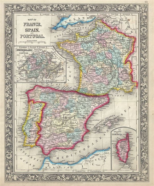 Map Of Spain Portugal And France.Map Of France Spain And Portugal Geographicus Rare Antique Maps