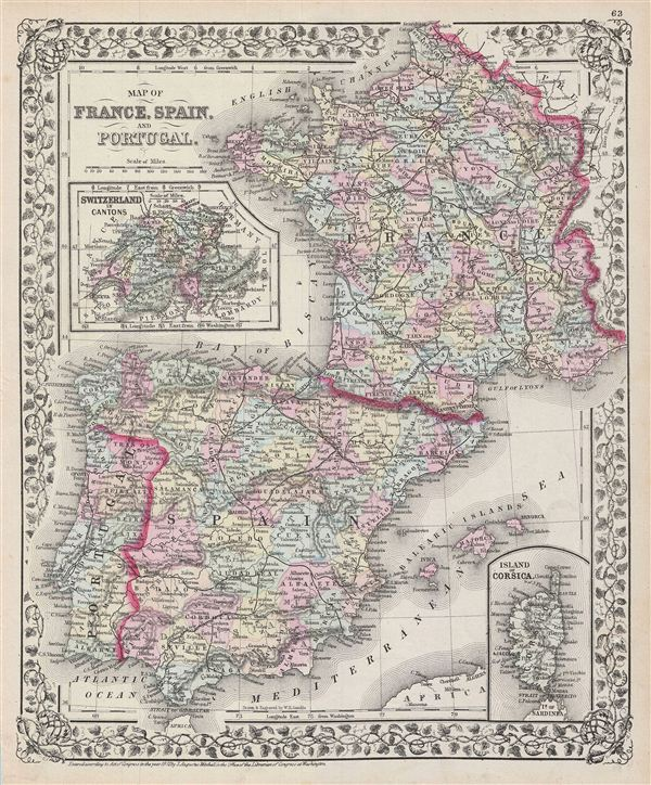 Map of France, Spain and Portugal.