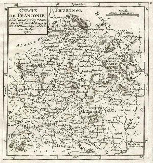 1749 Vaugondy Map of Franconia, Germany