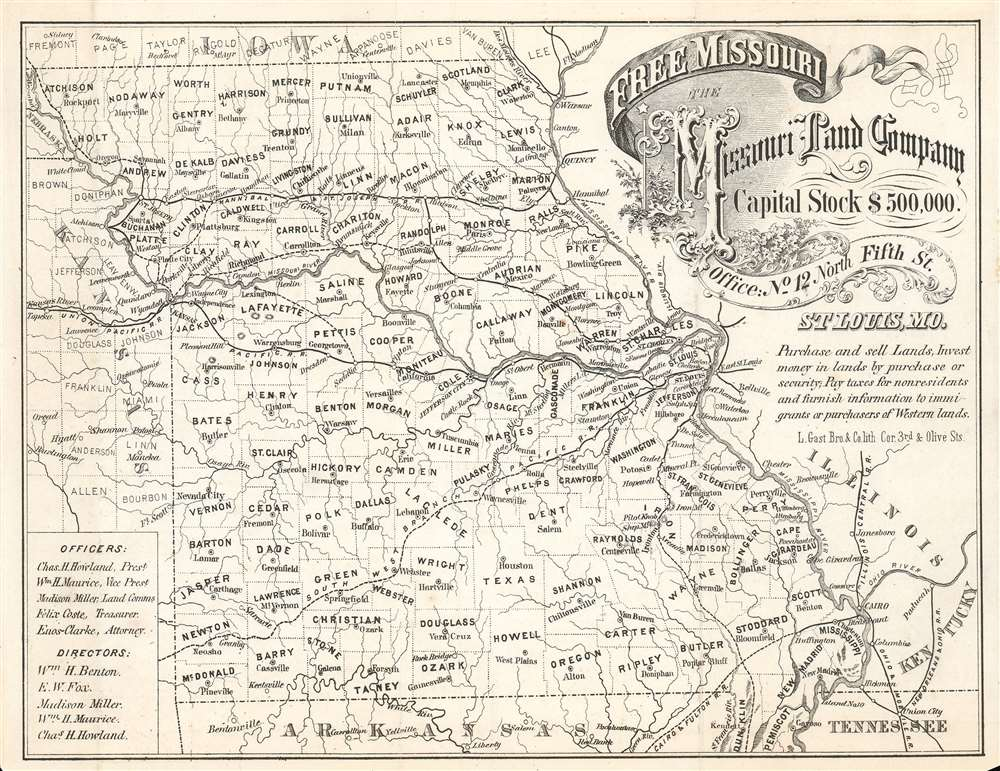 Free Missouri. The Missouri Land Company. Capital Stock $500,000. - Main View