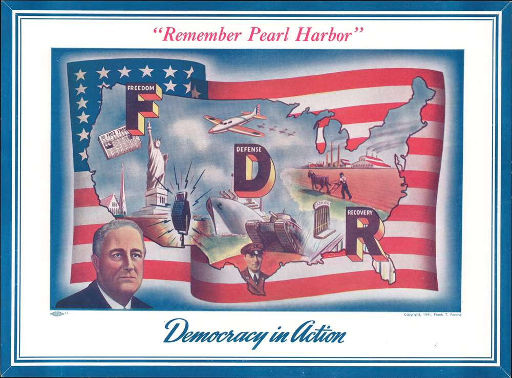 1941 Perone Map of the United States Promoting Participation in WWII