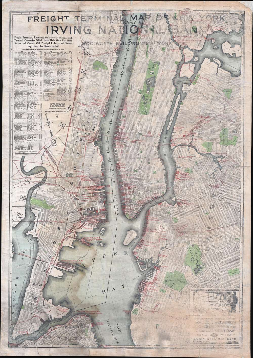 Freight Terminal Map of New York. Published by Irving National Bank.