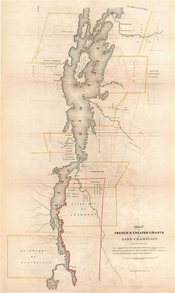 Map of French and English Grants on Lake Champlain.