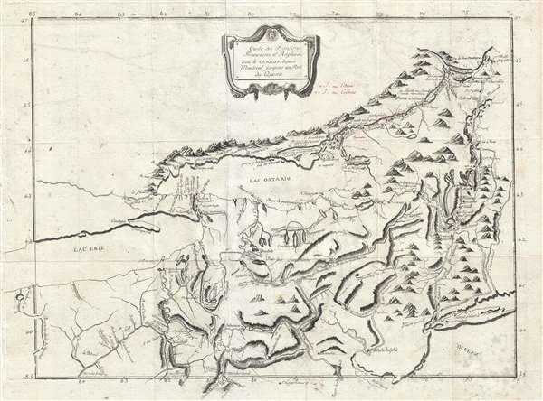Carte des Frontieres Francoises, et Angloises dens le Canada depuis Montreal jusques au Fort du Quesne.