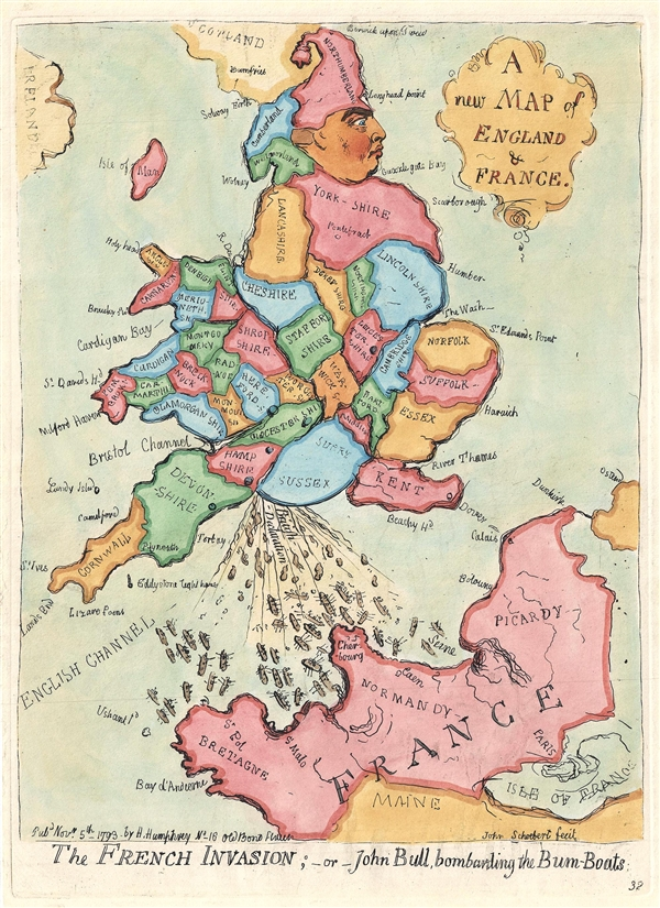 A new Map of England & France. / The French Invasion; or John Bull, bombarding the Bum-Boats.