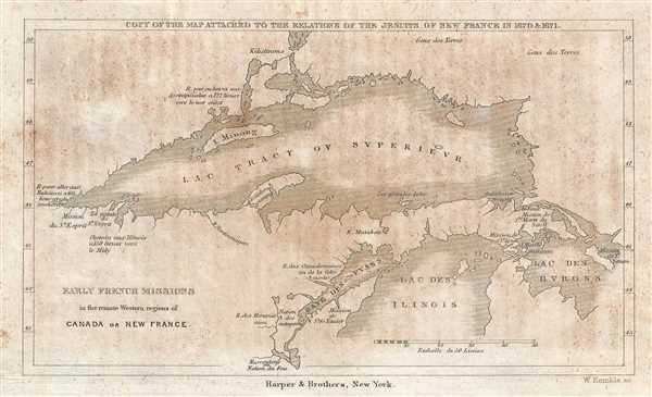 Early French Missions in the remote Western regions of Canada or New France. Copy of the Map Attached to the Relations of the Jesuits in New France in 1670 and 1671.