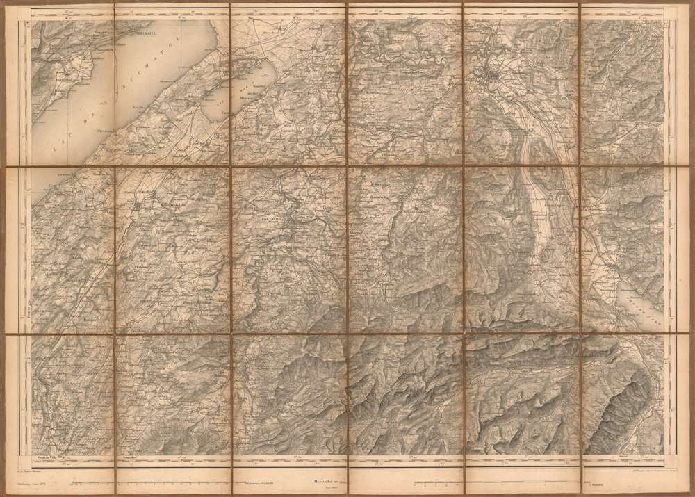 1875 Dufour Map of the cantons of Fribourg and Bern from the First Swiss National Survey