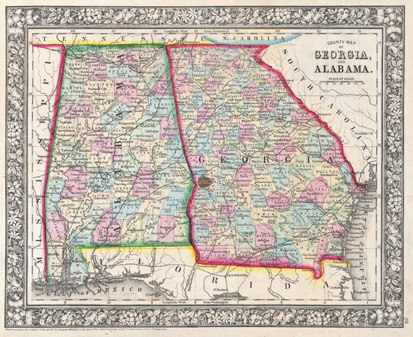 County Map of Georgia, and Alabama. - Main View