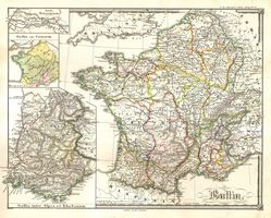 1855 Spruneri Map of France - Gaul - Gallia in Ancient Times