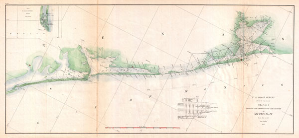 Sketch I Showing the Progress of  the Survey in Section No. IX from 1848 to 1857.