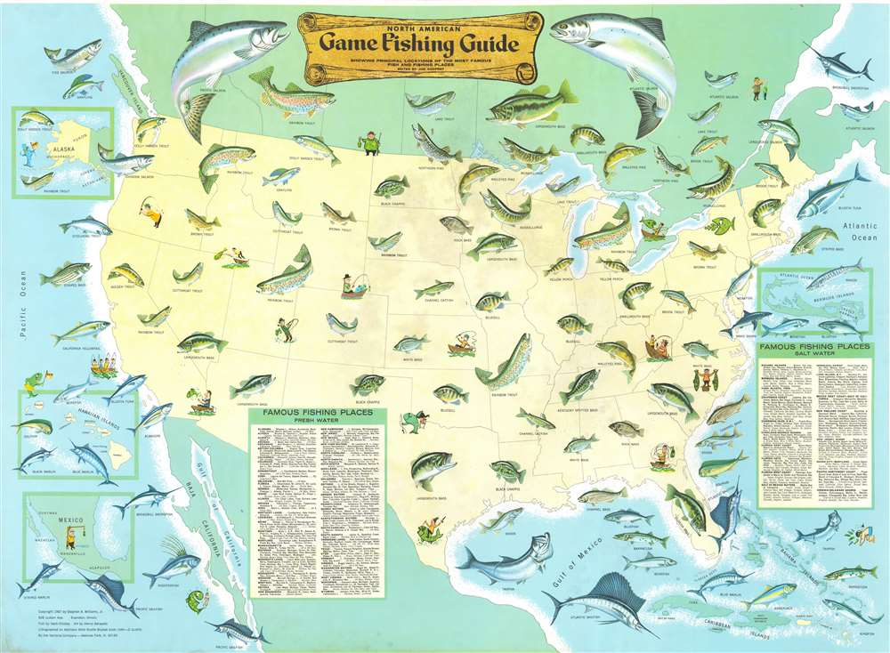 North American Game Fishing Guide Showing Principal Locations of the Most Famous Fish and Fishing Places. - Main View