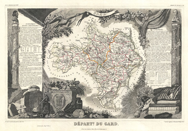 1852 Levasseur Map of the Department du Gard, France