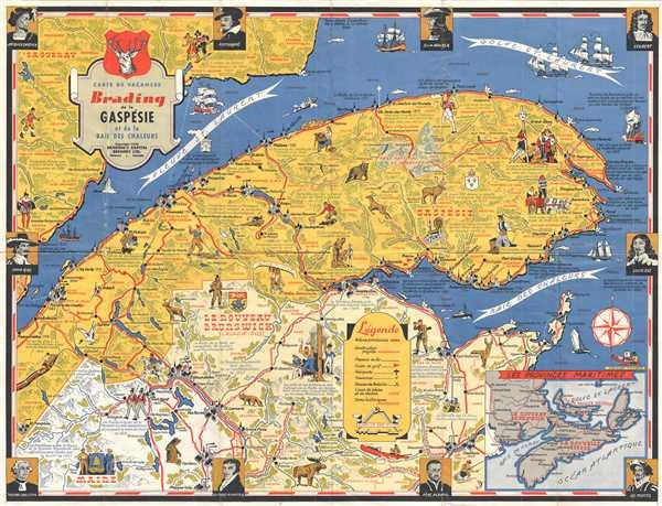 Gaspe Canada Map.Carte De Vacances Brading De La Gaspesie Et De La Baie Des Chaleurs