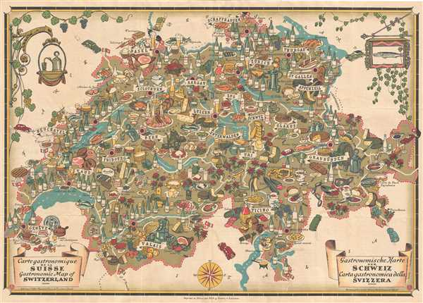 Carte Gastronomique de la Suisse Gastronomic map of Switzerland