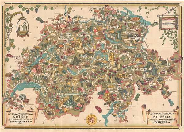 Carte Gastronomique de la Suisse. Gastronomic map of Switzerland. Gastronomische Karte der Schweiz. Carta gastronomica della Svizzera.