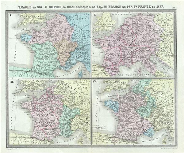 I. Gaule en 507. II. Empire de Charlemagne en 814. III. France en 987. IV. France en 1677.