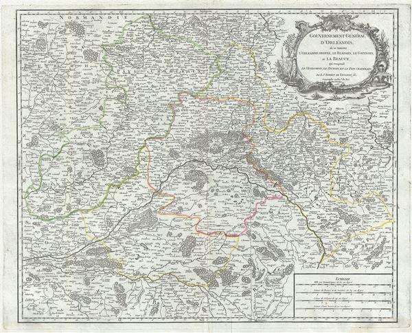 Gouvernement General d'Orleanois, ou se trouvent l'Orleanois Propre, le Blaisois, le Gatinois, et la Beauce, qui comprend le Vendomois, le Dunois, et le Pays Chartrain.