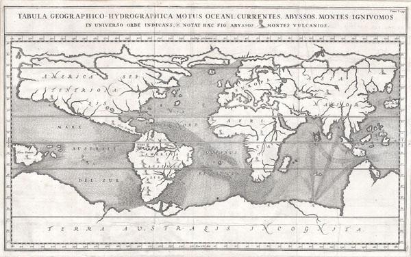 Tabula Geographico-Hydrographica Motus Oceani, Currentes, Abyssos, Montes Igniuomus in Universo Orbe Indicans Notat Haec Fig. Abyssos Montes Vulcanios.