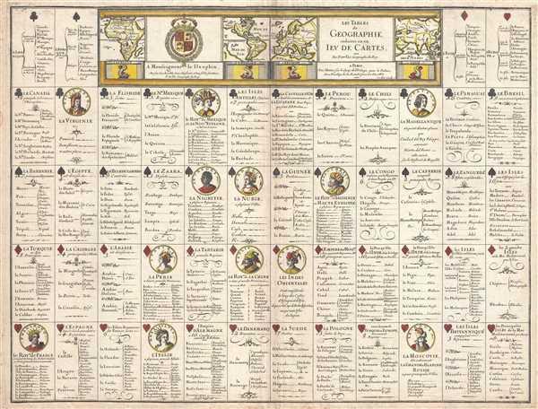 Les Tables de Geographie, reduites en un Jeu de Cartes.