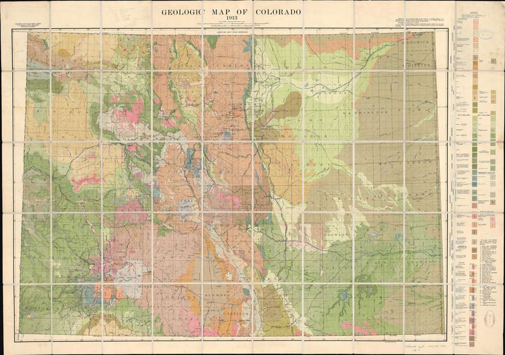 1913 George Geologic Map of Colorado
